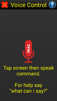 Image of the voice control screen