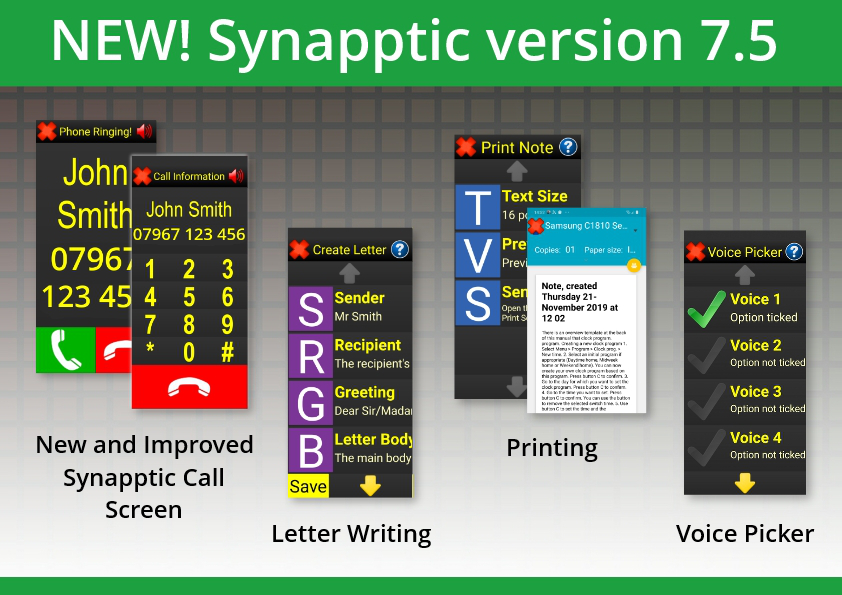 Image of the new call, voice picker, printing and letter writing screens